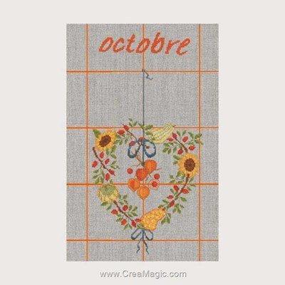Torchon à broder octobre - 10 de Le Bonheur Des Dames