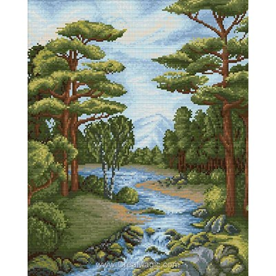 Broderie diamant forest river - Diamond Painting