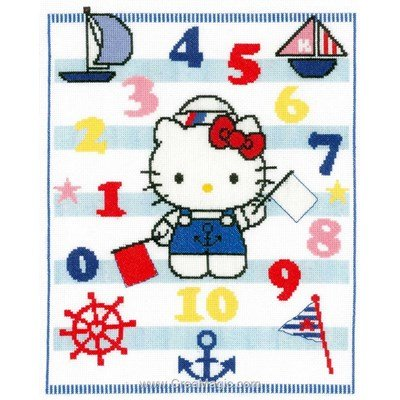 Broder au point de croix hello kitty marine et les chiffres - Vervaco