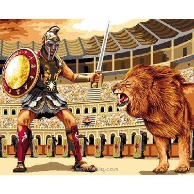 Le gladiateur au lion canevas - Mimo Verde