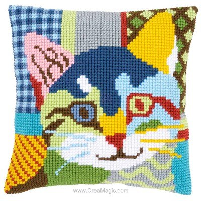 Coussin Vervaco chat calico au point de croix