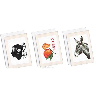 Kit carte lot de 3 cartes souvenir de corse à broder de Marie Coeur