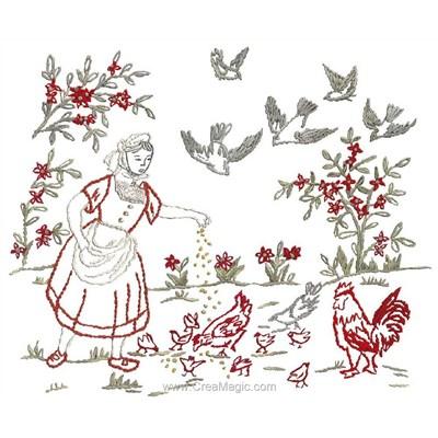 Broderie traditionnelle Au Fil De L'Ange fanchon et ses poules
