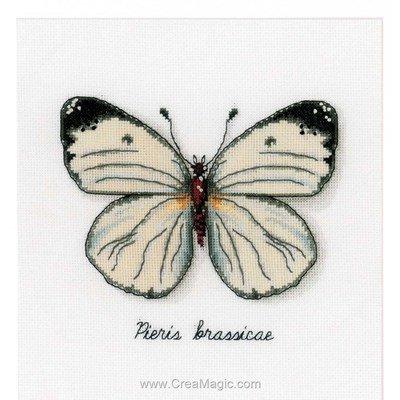 Papillon blanc kit broderie de Vervaco au point de croix