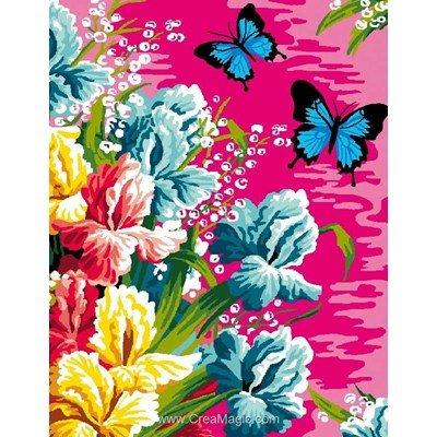 Les papillons aux iris canevas de Luc Création