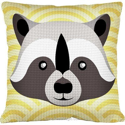 Coussin Margot au demi point raton laveur