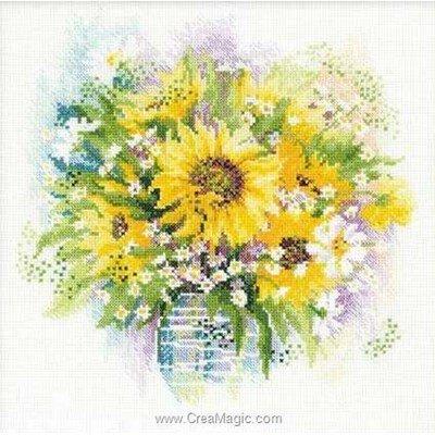 Kit à broder bouquet tournesols et fleurs blanches - RIOLIS