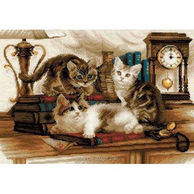 Kit à broder point de croix fratrie de chats de RIOLIS