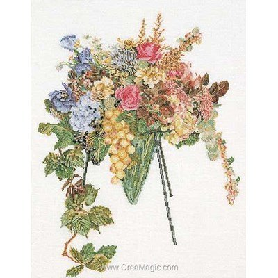 Kit broderie de Thea Gouverneur au point de croix floral cascade sur lin