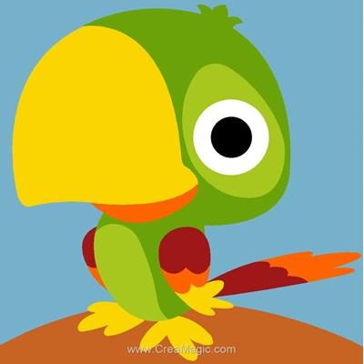 Peroquet vert canevas kit enfant complet - Margot