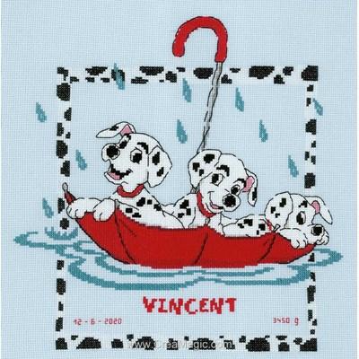 Point compté naissance Vervaco disney dalmatiens dans le parapluie rouge