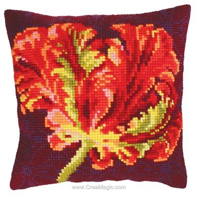 Coussin Collection d'art tulipe rouge n°2 au point de croix