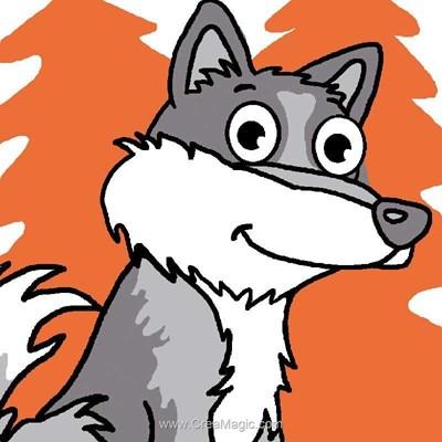 Kit canevas Luc Création pour enfant loup coquin