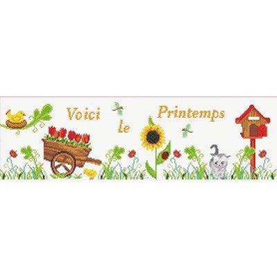 Broderie modele point de croix Princesse tableau voici le printemps