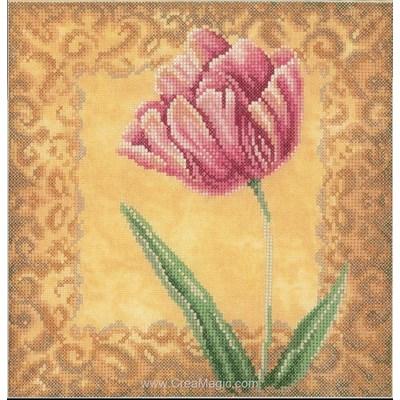 Point de croix tulipe et arabesque dorée de Lanarte