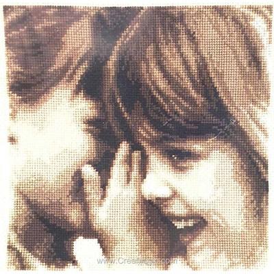 Modèle broderie point de croix secret d'enfants - aida blanche - Vervaco