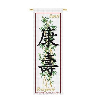 Le point de croix Aux 4 Points Du Monde santé prospérité sur bambou