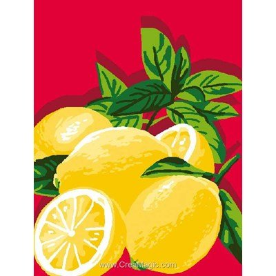 Kit canevas complet citrons en rouge de Luc Création