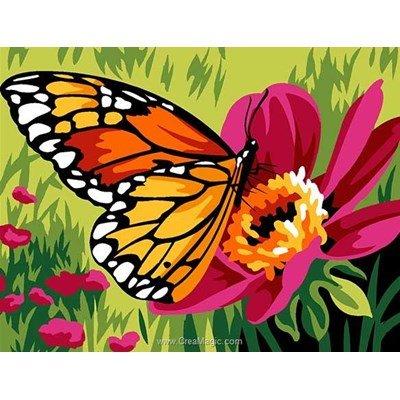 Kit canevas pour enfants papillon buttinant de Margot