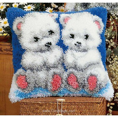 Coussin point noue les oursons blancs - Vervaco