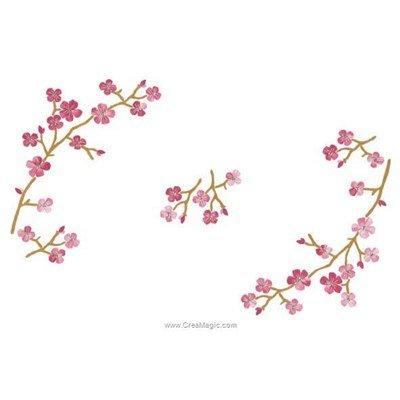 Napperon à broder en point de broderie imprimée cerisier sakura de Luc Création