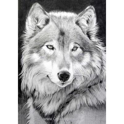 Kit broderie diamant le loup gris de Wizardi