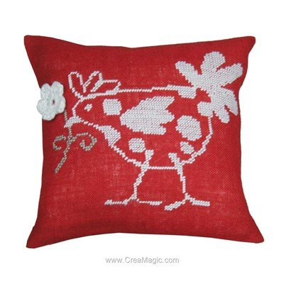 Coussin flower hen red - Anette Eriksson