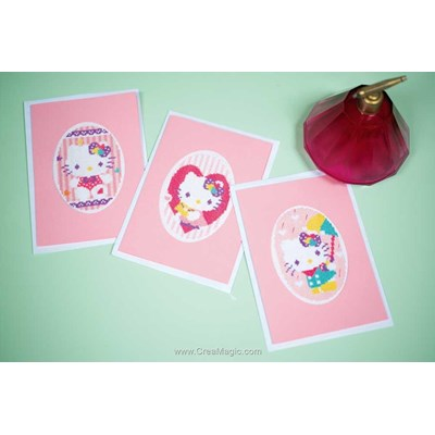 Carte à broder kit carte de voeux hello kitty pastel lot de 3 de Vervaco
