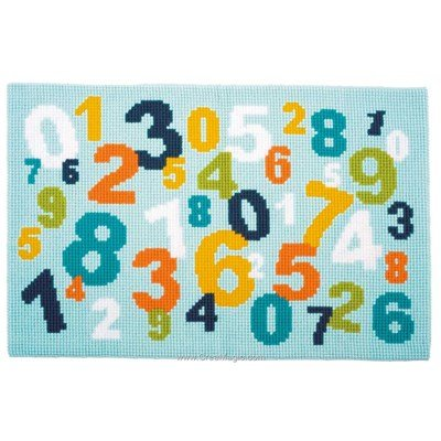 Kit complet tapis au point de croix Vervaco les chiffres colorés