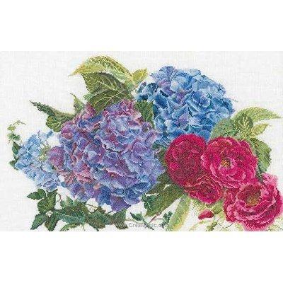 Kit point de croix hydrangea & rose sur aida - Thea Gouverneur