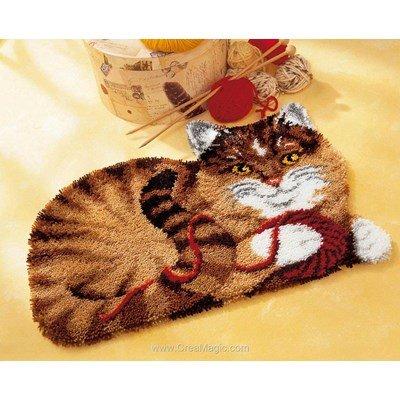 Tapis point noue Vervaco chat et la pelote de laine