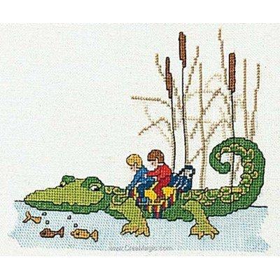 Crocodile sur lin le point de croix - Thea Gouverneur