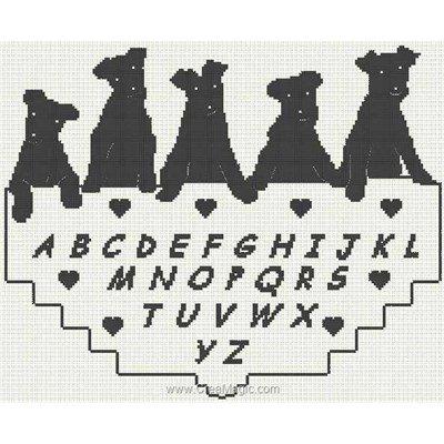 Abc chiens noirs fiche de broderie d'Anagram au point de croix