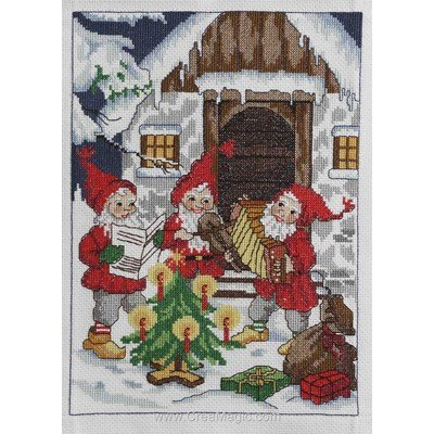 Wallhanger - santa´s playing music broderie point de croix - Anchor