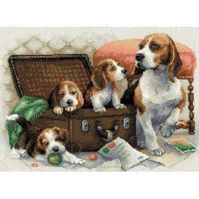 Famille canine broderie modele point de croix - RIOLIS