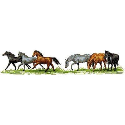 Broderie au point de croix point compté les chevaux au pas, au galop - Luc Création