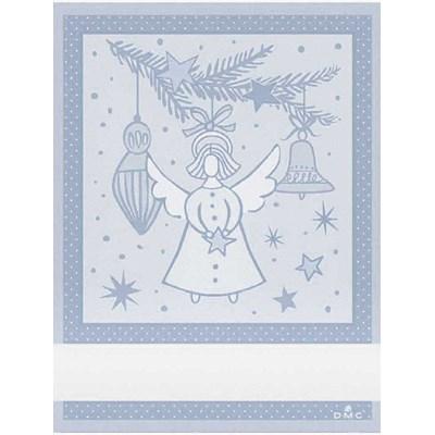 Torchon à broder ange noel - bleu clair DMC