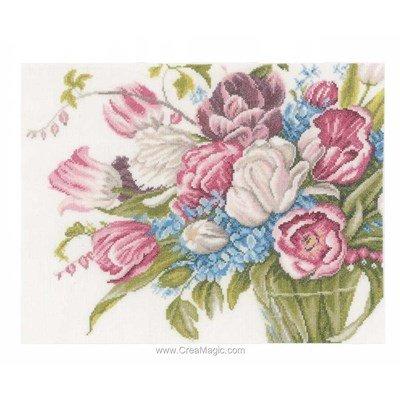 Kit Lanarte à broder au point de croix fleurs en rose et bleu