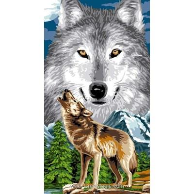 Le cri du loup de la montagne canevas - Luc Création