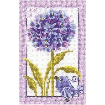 Modele mini kit au point de croix oiseau et fleur violette - Vervaco