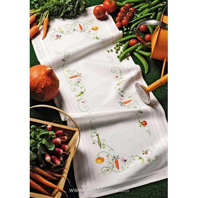 Kit chemin de table imprimé les légumes en broderie traditionnelle - Royal Paris 6351-1759