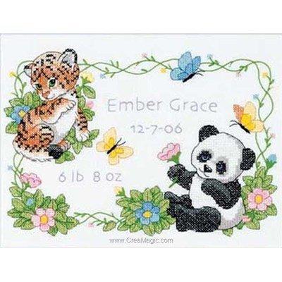 Tableau de naissance point de croix tigron et panda de Dimensions