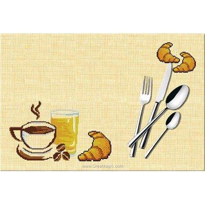 Set de table Luc Création petit déjeuné à broder au point de croix compte