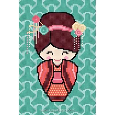 Kit à broder point de croix Princesse hanae la kokeshi