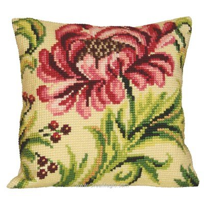 Kit coussin au point de croix rose sauvage de Collection d'art