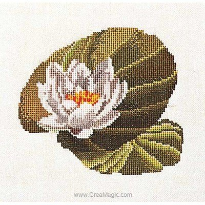 Broderie au point de croix point compté water-lily sur lin - Thea Gouverneur