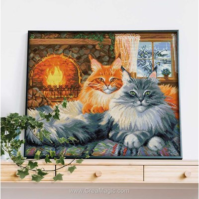 Kit broderie diamant Diamond Painting 2 cats