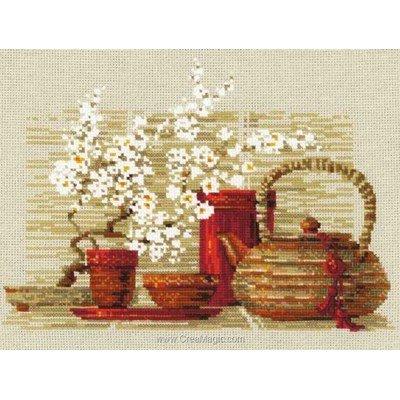 Kit à broder point de croix le thé en rouge - RIOLIS
