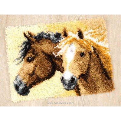 Tapis point noué portrait de chevaux de Vervaco