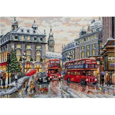 Kit tableau point de croix Merejka les bus anglais sous la pluie